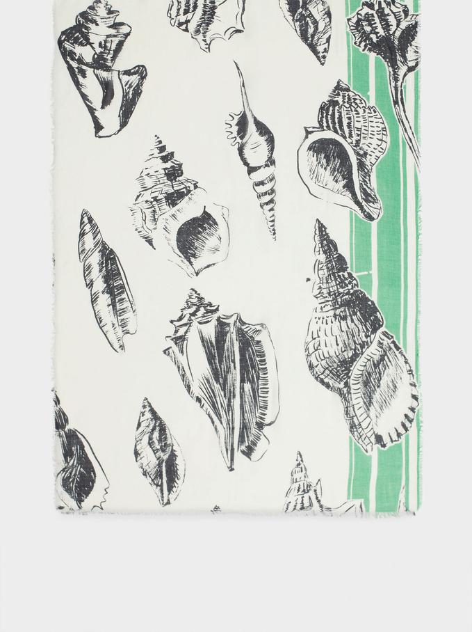 Shell Print Scarf, Ecru, hi-res