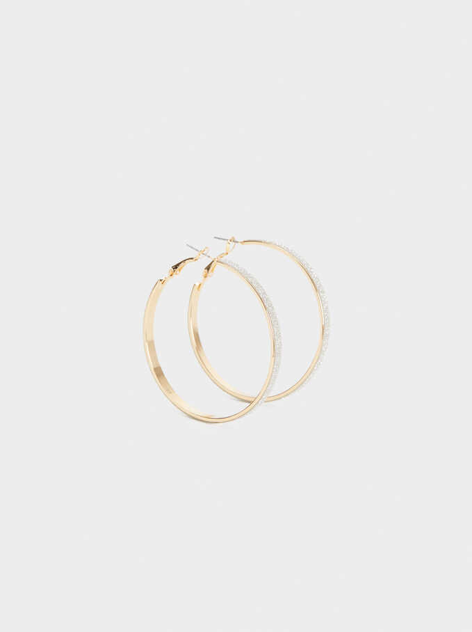 Medium Diamanté Hoops, Golden, hi-res