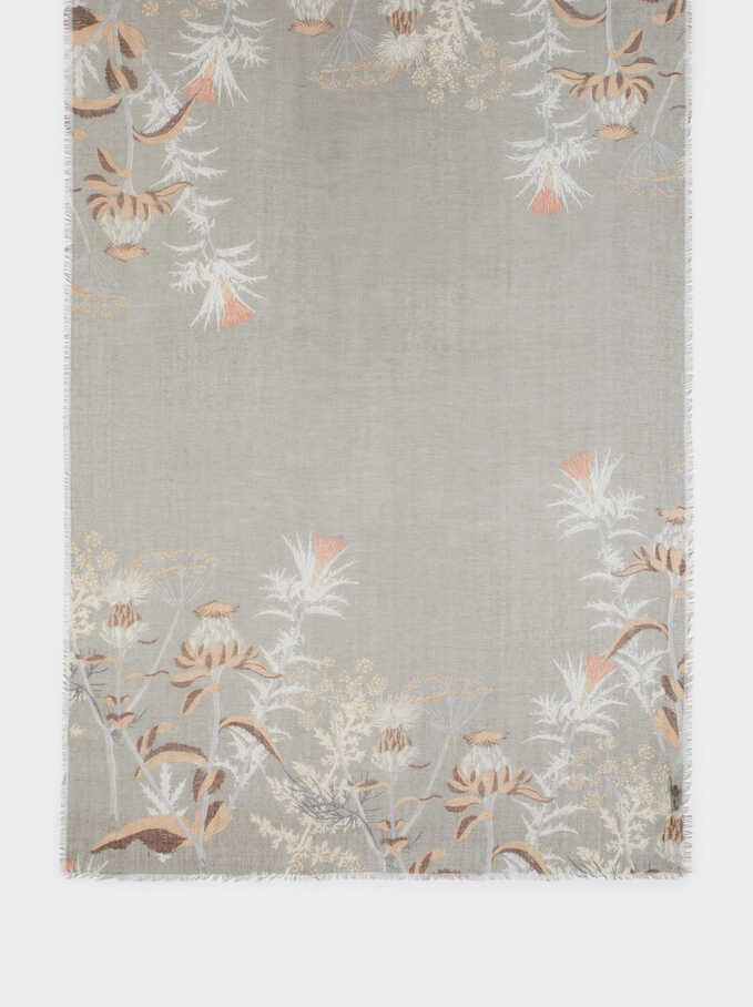 Pañuelo Estampado Floral, Caqui, hi-res