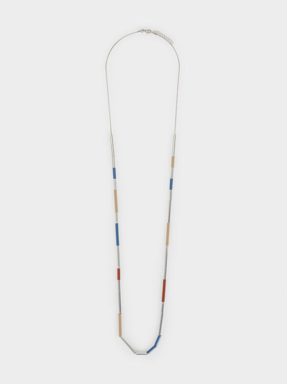 Long Magnolia Necklace With Beads, Multicolor, hi-res