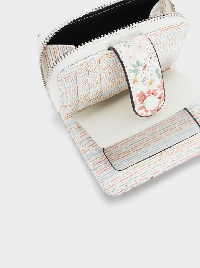 Carteira Compacta Estampado Floral, Branco, hi-res