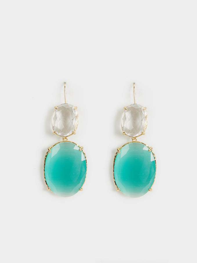 Crystals Earrings, Green, hi-res