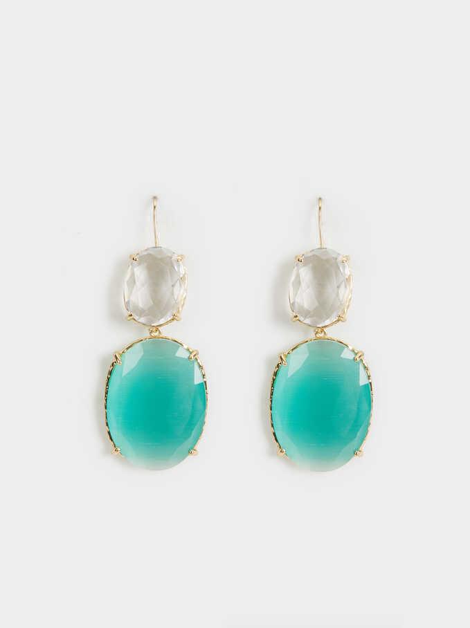 Crystals Earrings, Green, hi-res