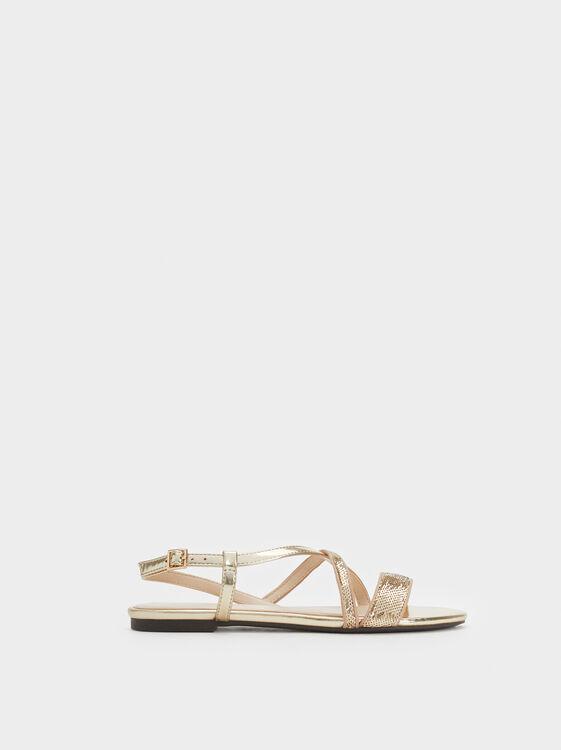 Flat Sequin Sandals, , hi-res