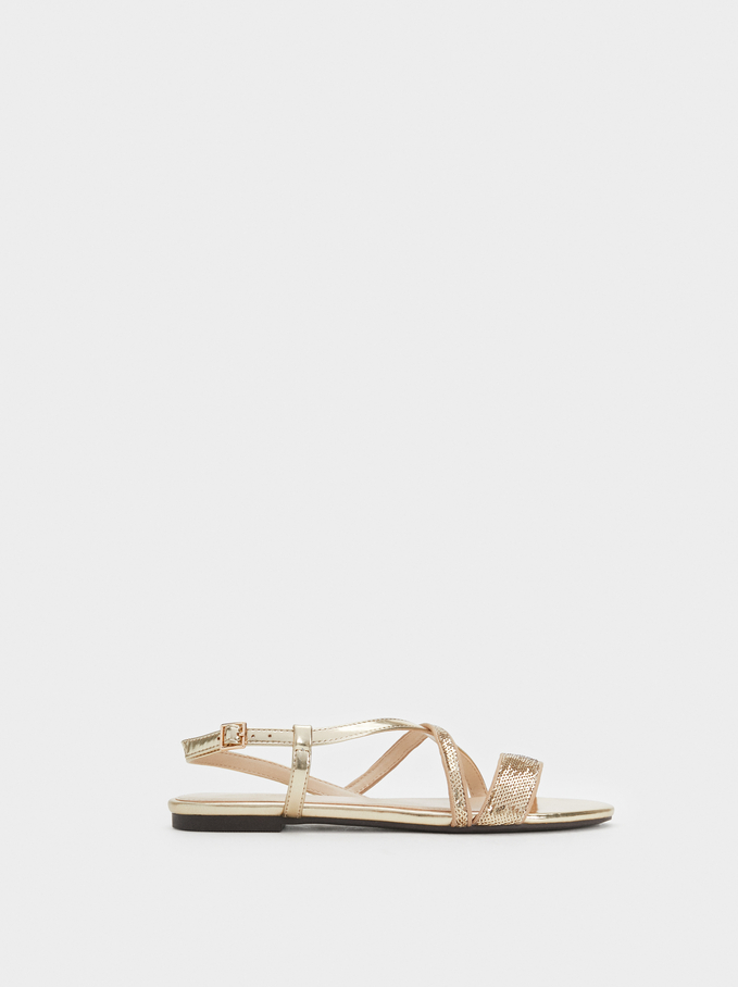 Flat Sequin Sandals, Golden, hi-res