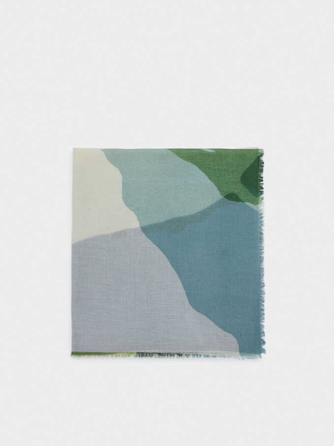 Printed Scarf, Green, hi-res