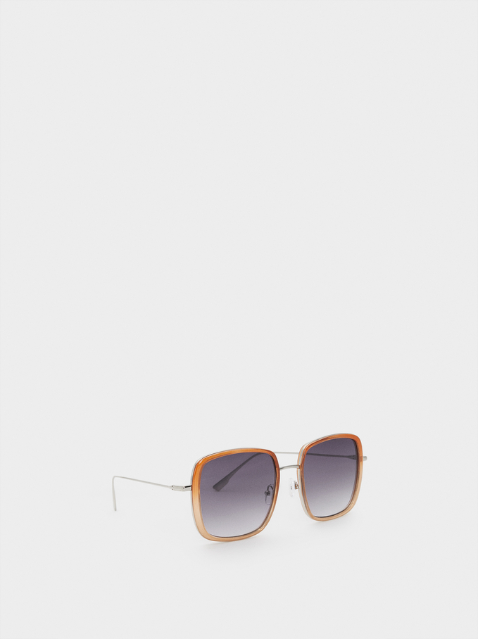 Square Sunglasses, Orange, hi-res