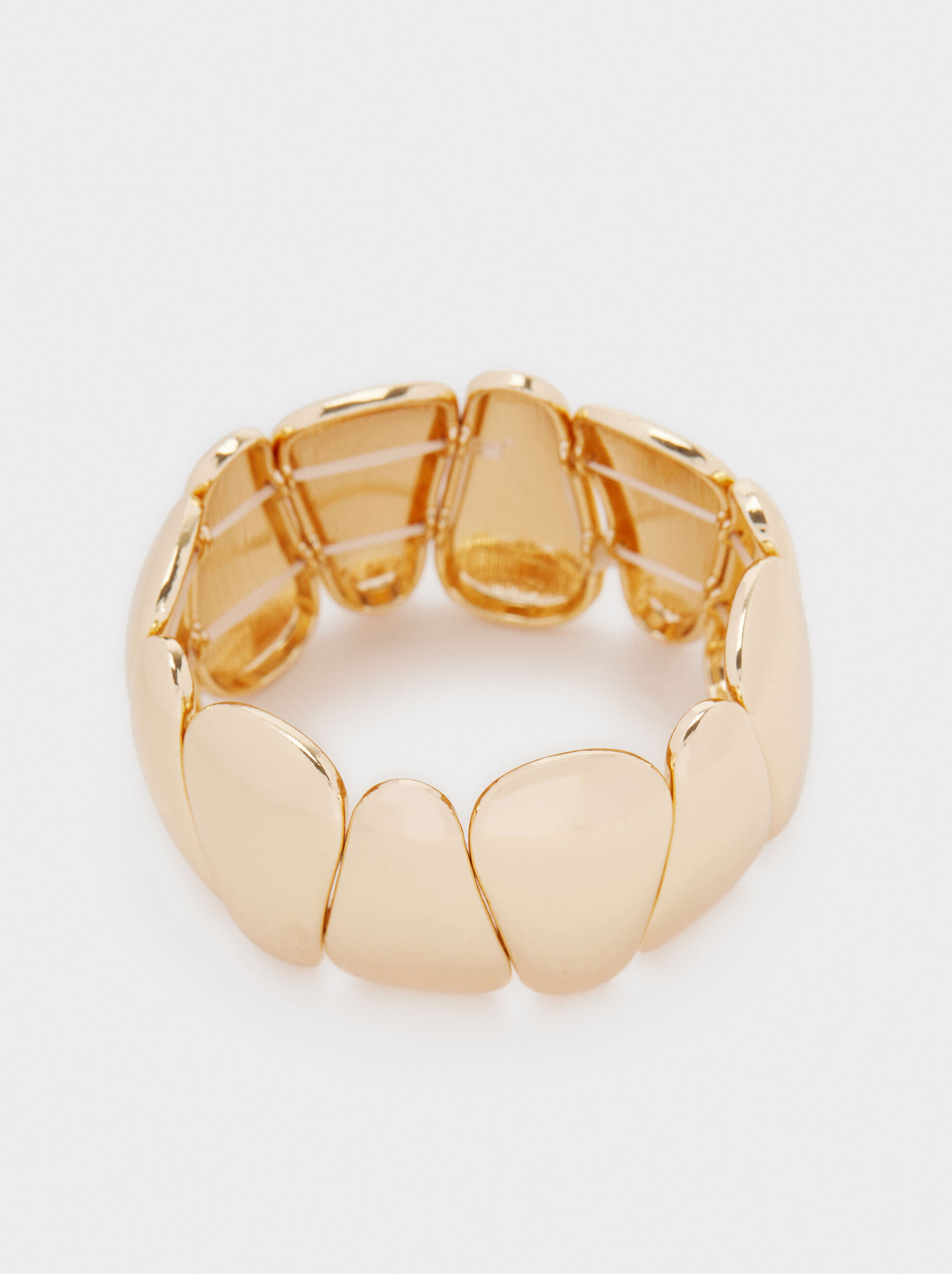 Gold Metallic Elasticated Bracelet, Golden, hi-res