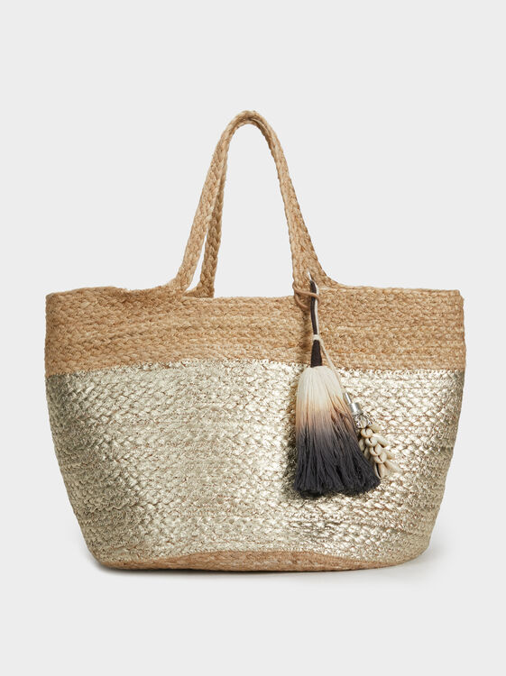 Large Faux Raffia Tote Bag, Ecru, hi-res