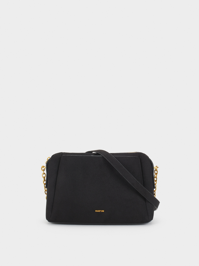 Suede Texture Shoulder Bag, Black, hi-res