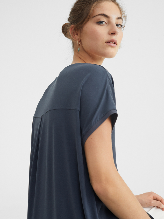 Round Neck Dress, Blue, hi-res