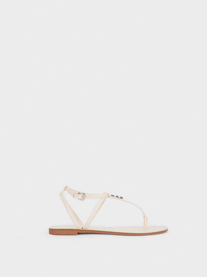 Flat Sandals With Stud Details, White, hi-res