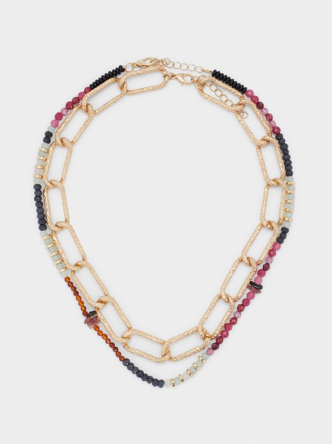 Set De Colliers Combinés Avec Perles, Multicolore, hi-res