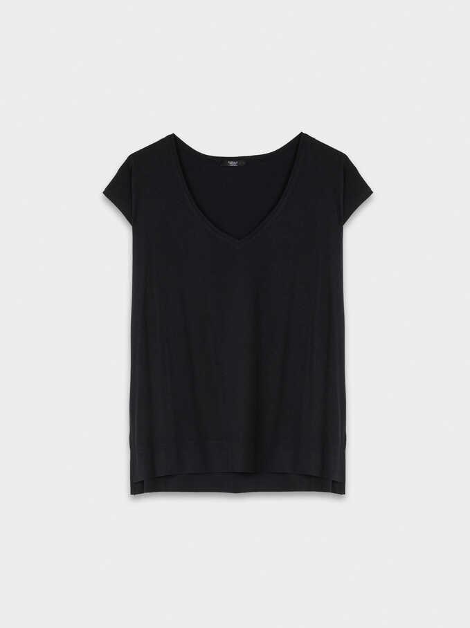 Basic V-Neck T-Shirt, Black, hi-res