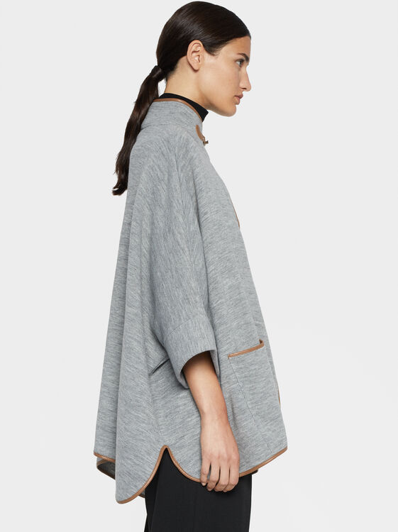 Poncho With Contrast Piping, Grey, hi-res