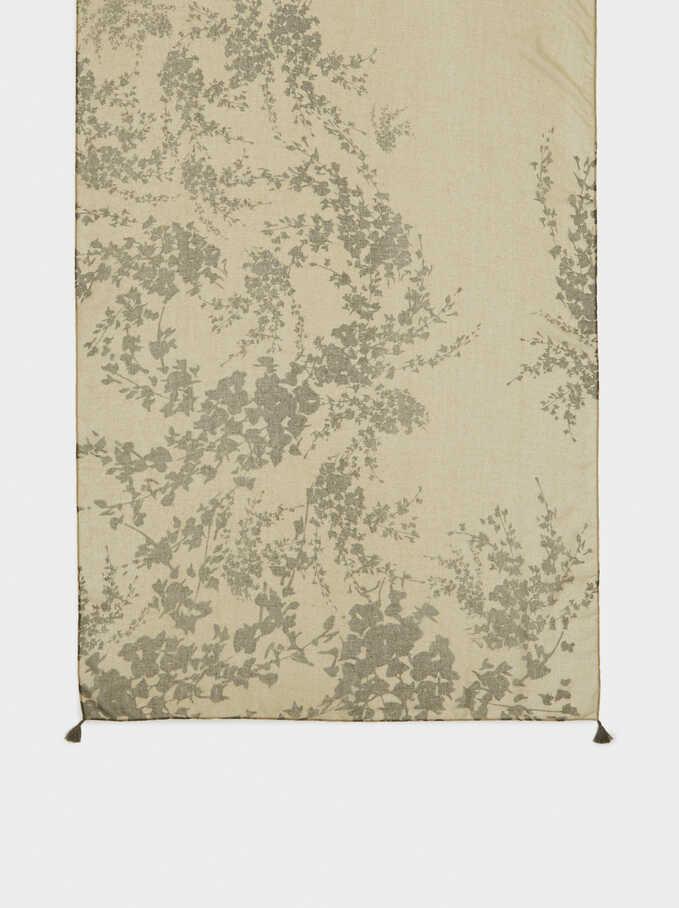 Floral Print Scarf, Khaki, hi-res