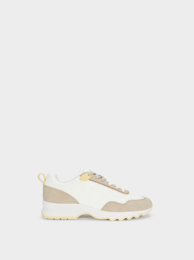 Contrast Sneakers, Brown, hi-res