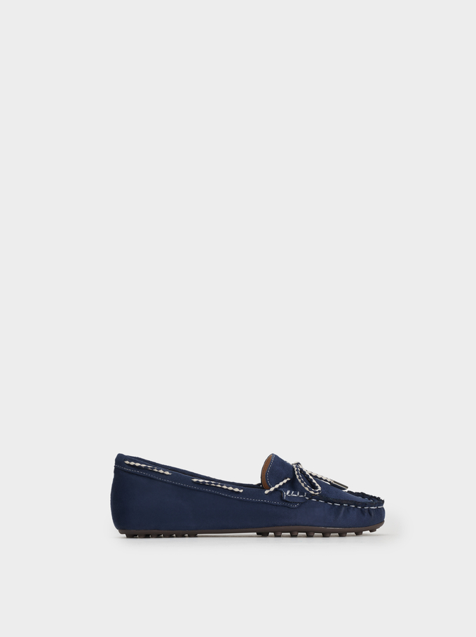 Loafers With Contrast Bow, Navy, hi-res