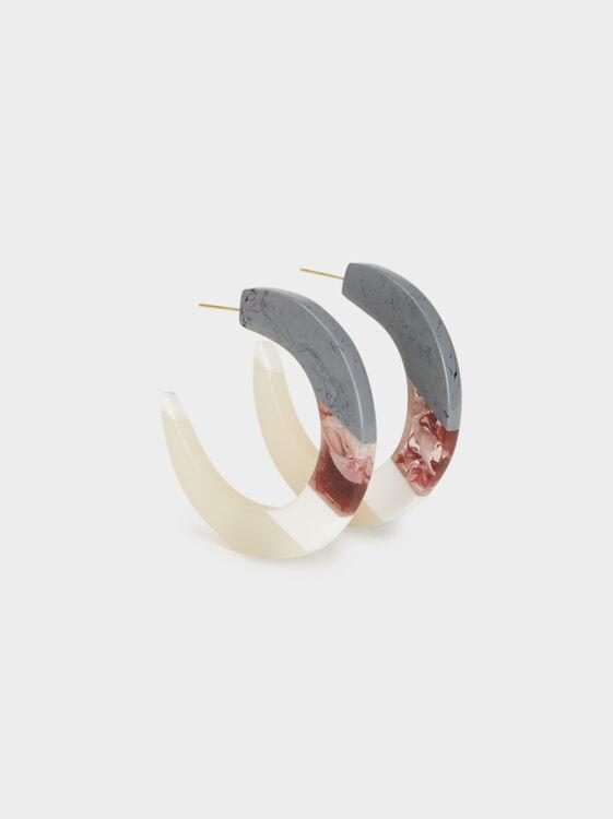 Land Medium Hoop Earrings, Multicolor, hi-res