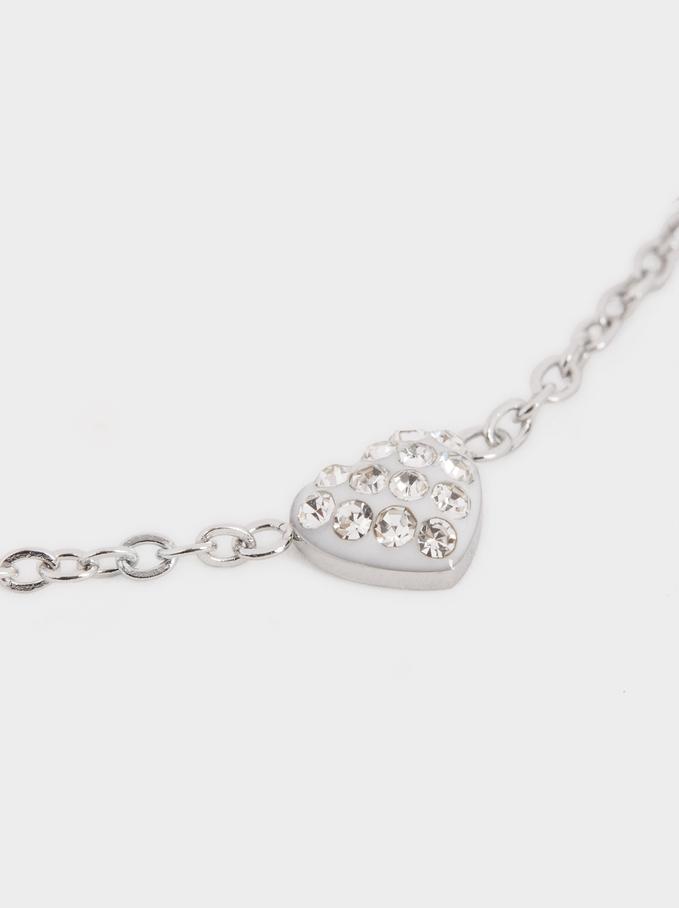 Stainless Steel Heart Bracelet, Silver, hi-res
