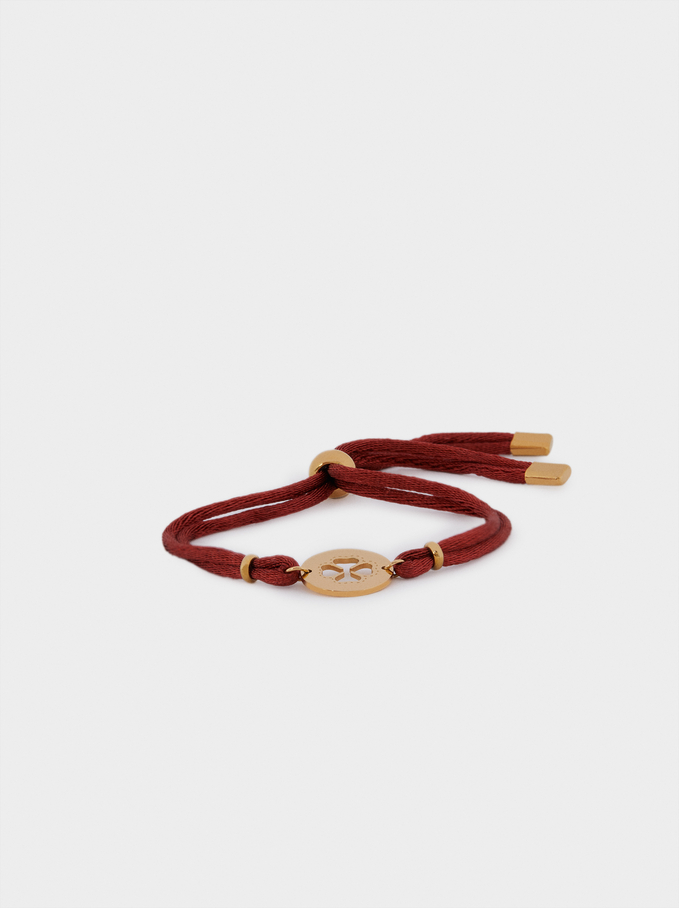 Bracelet Réglable En Acier Trèfle, Bordeaux, hi-res