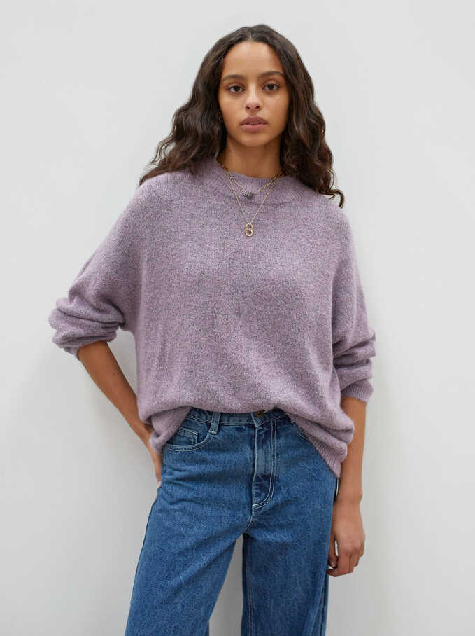 Round-Neck Knit Sweater, Violet, hi-res