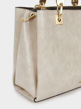 Tote Bag With Golden Details, Ecru, hi-res