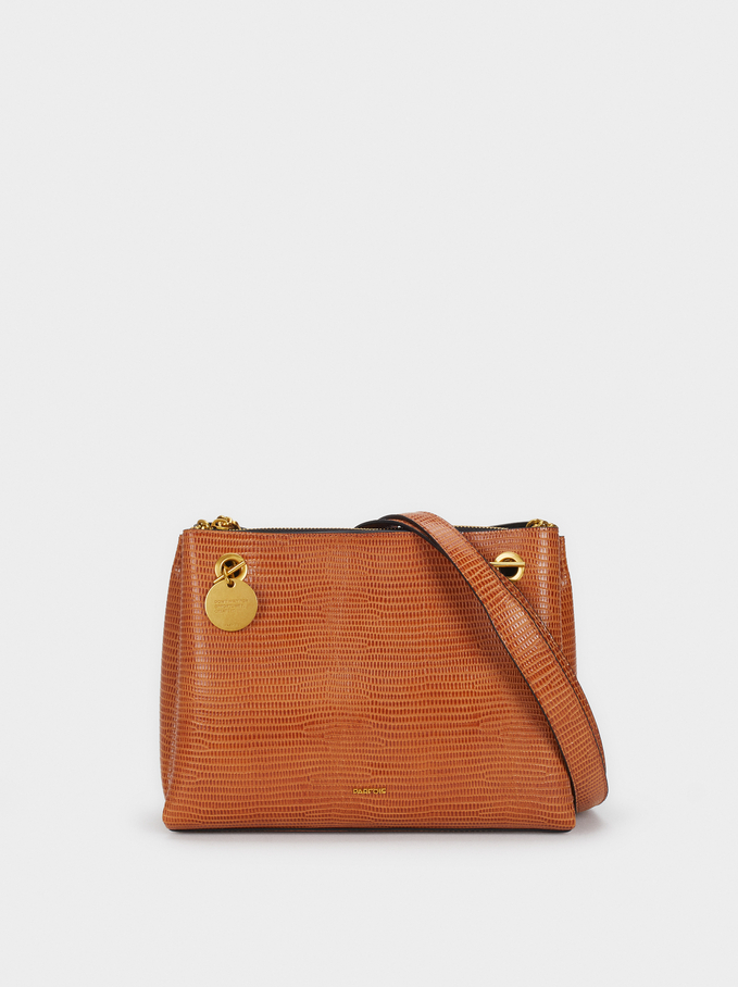 Animal Embossed Shoulder Bag, Camel, hi-res