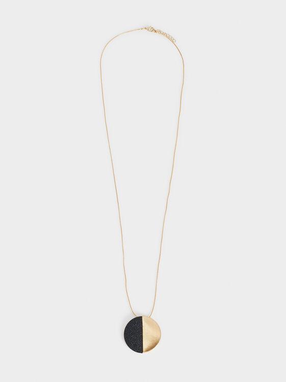 Long Blog Bicolour Necklace, Golden, hi-res