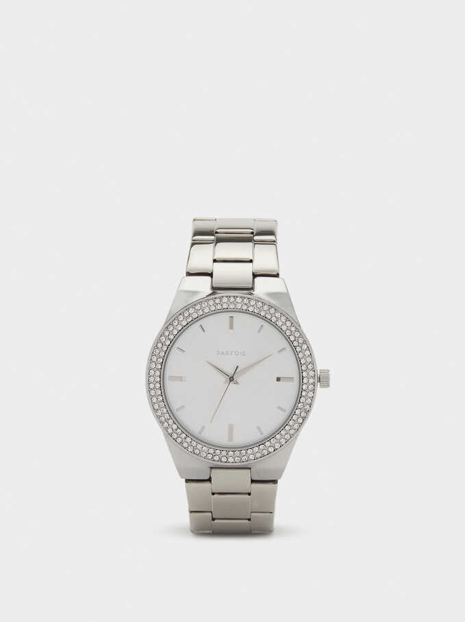 Watch With Rhinestones On The Face, Silver, hi-res
