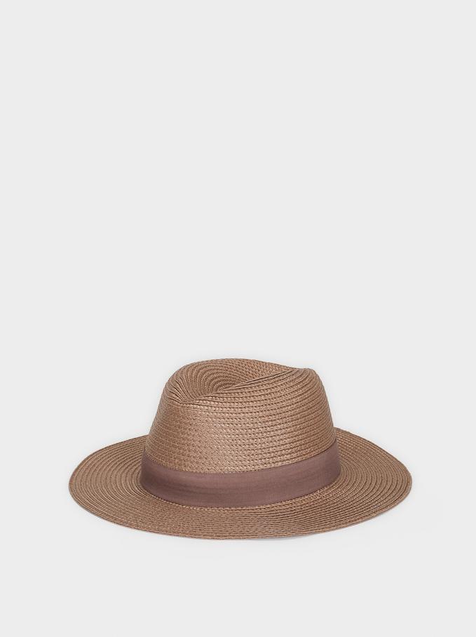 Raffia Texture Hat, Pink, hi-res