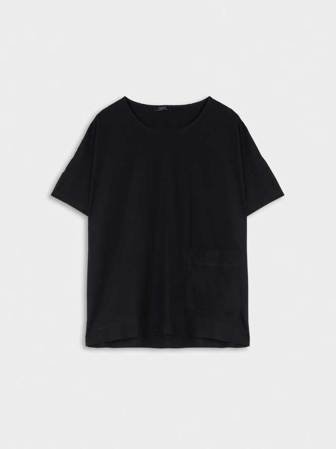 Round-Neck T-Shirt, Black, hi-res