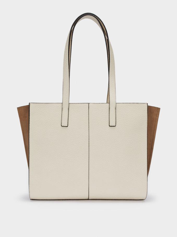 """Embossed Tote Bag For 13"""" Laptop, Ecru, hi-res"""
