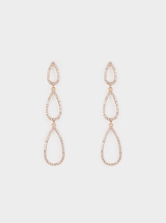 Long Earrings With Rhinestones, , hi-res