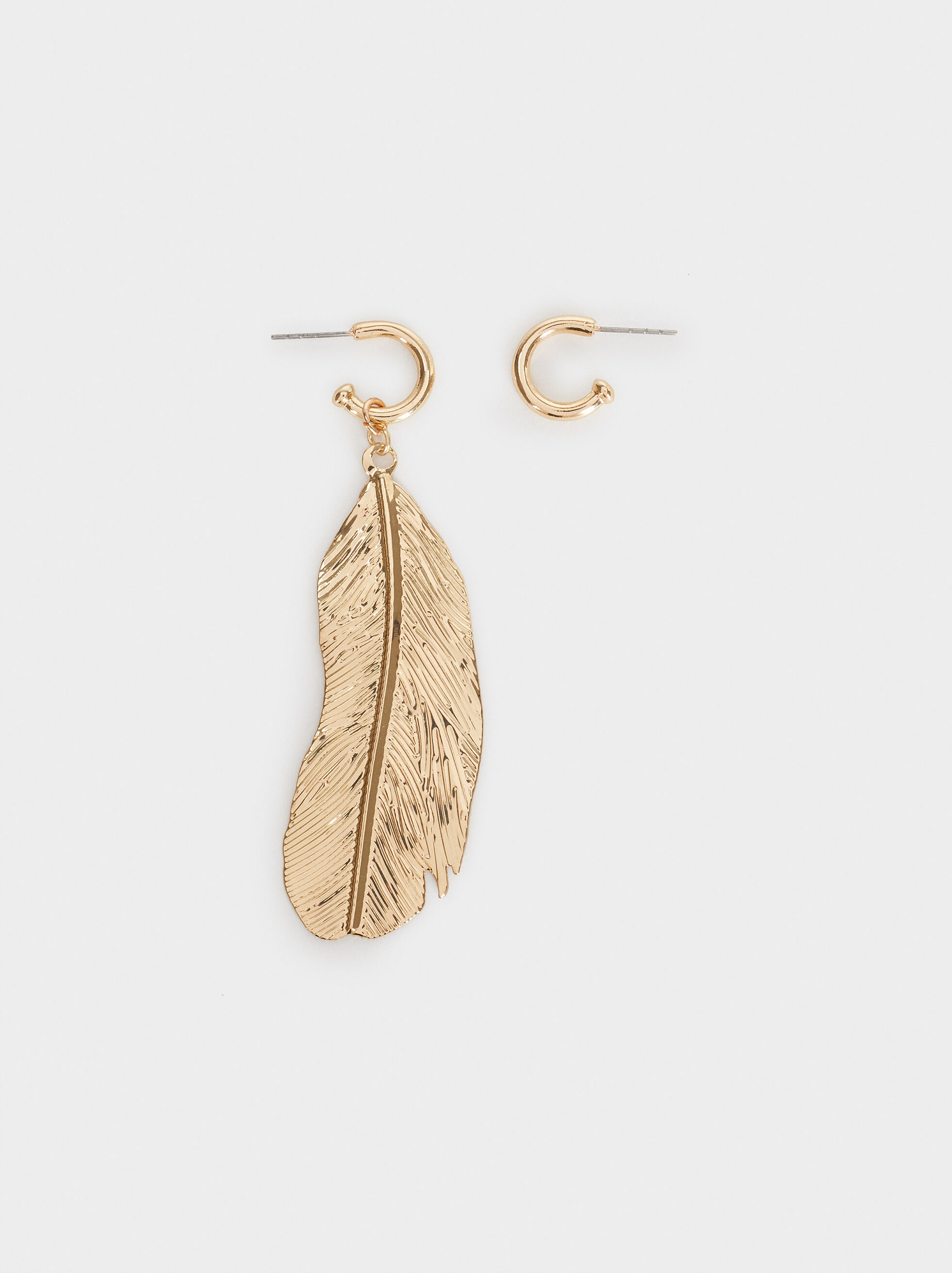 Long Feather Earrings, Golden, hi-res