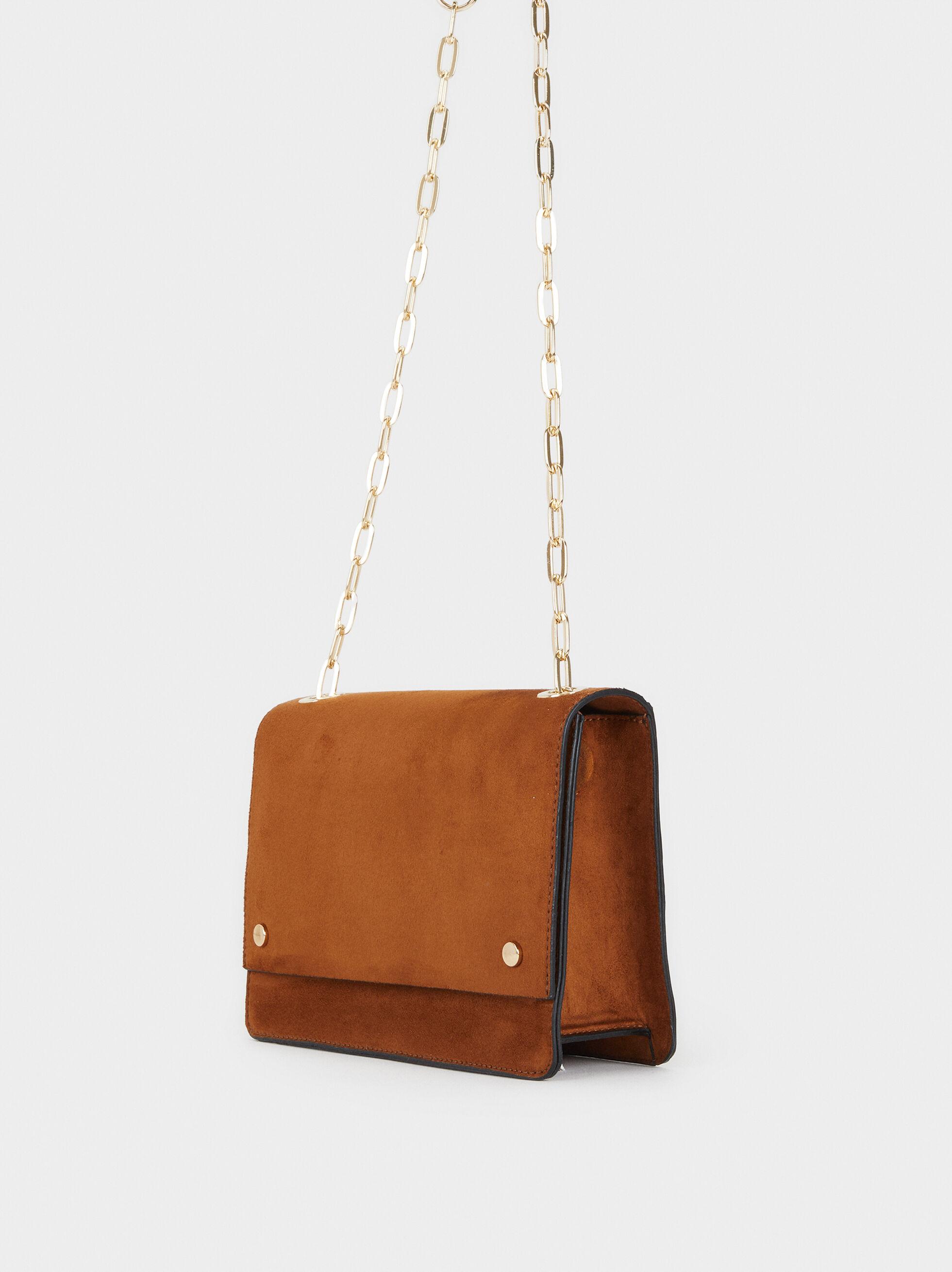 Faux Suede Crossbody Bag, Camel, hi-res
