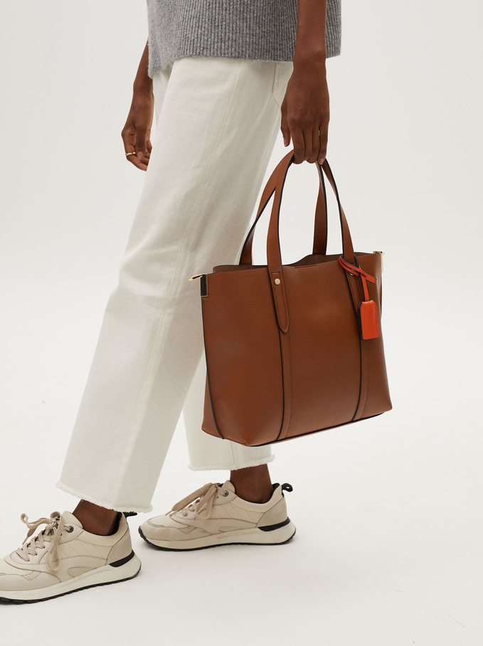 Tote Bag With Shoulder Strap, Camel, hi-res