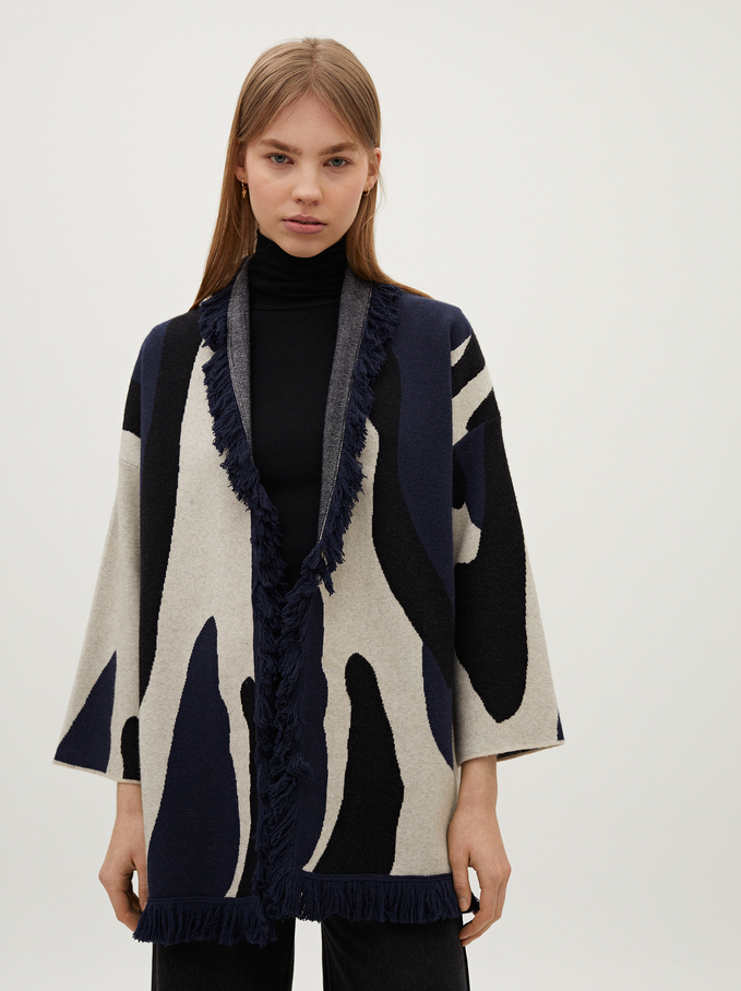 Animal Print Knit Cardigan, Black, hi-res