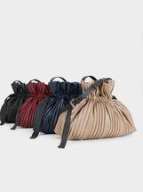 Pleated Crossbody Bag, Brown, hi-res