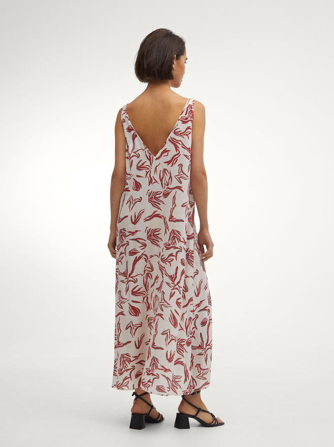 Printed Dress With Straps, White, hi-res