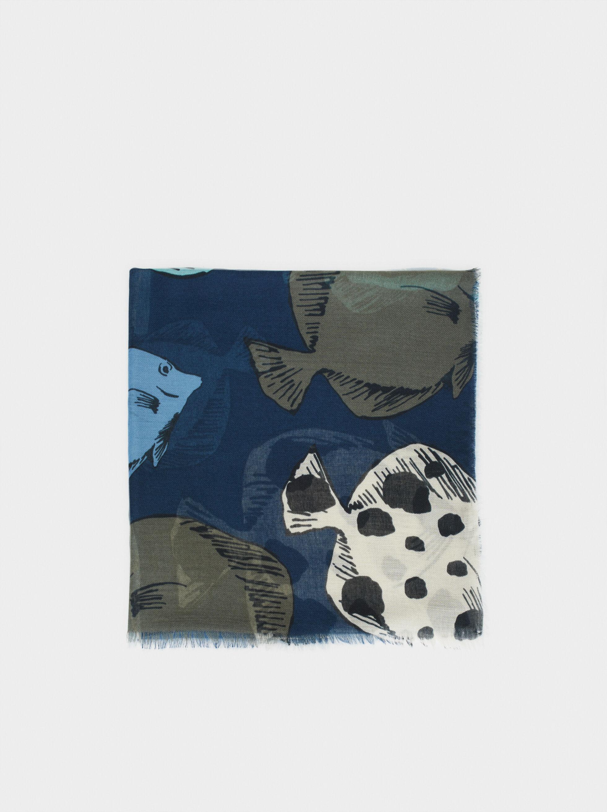 Fish Print Scarf, Blue, hi-res