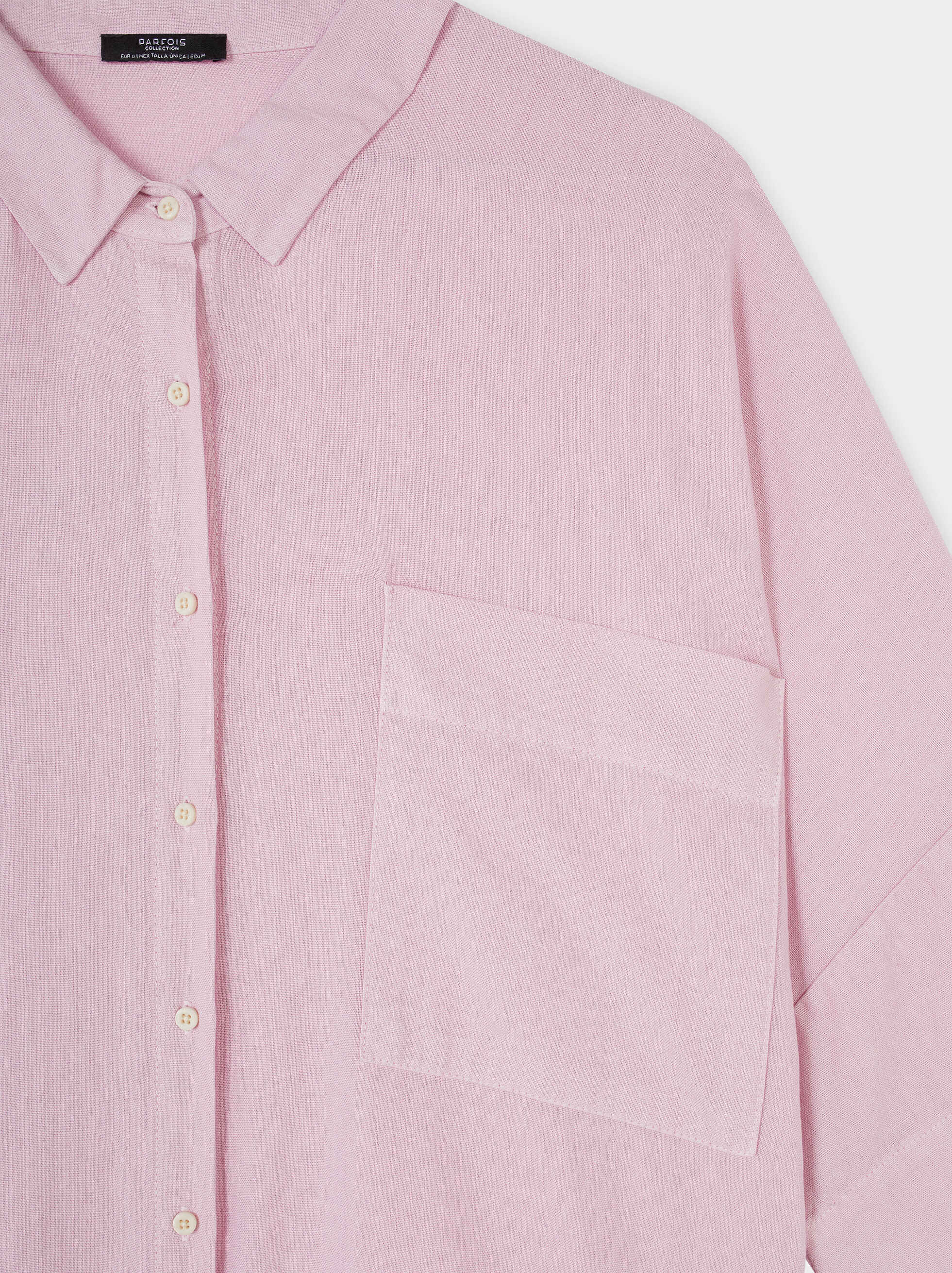 Plain Oversized Shirt, Pink, hi-res