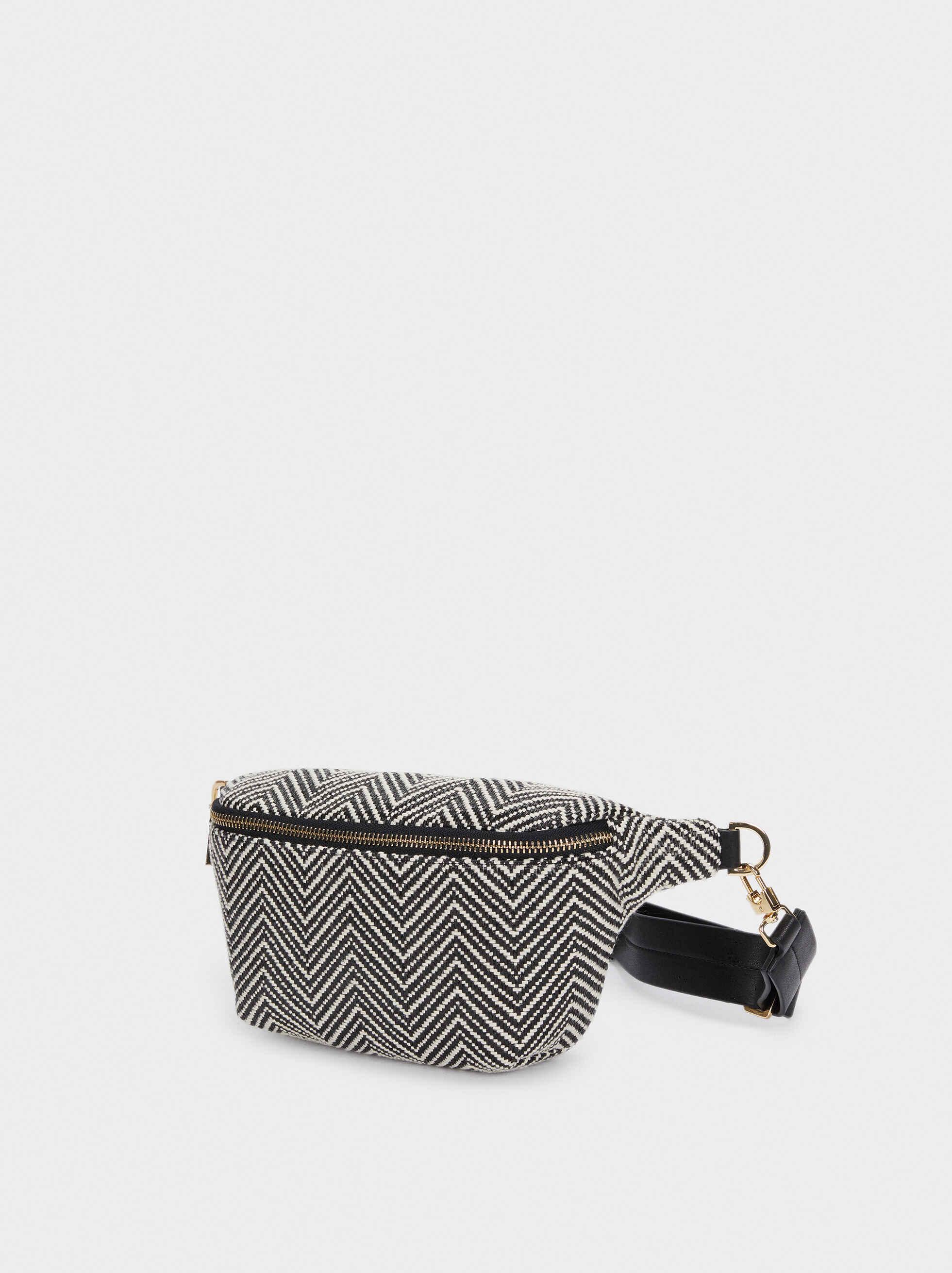 Raffia Belt Bag, Black, hi-res
