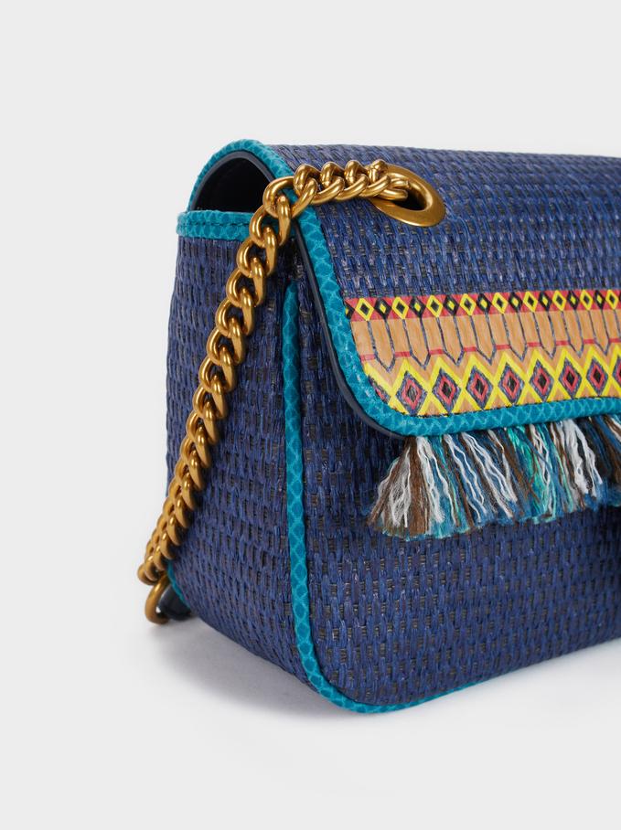 Sac Cabas À Bandoulière En Texture Raphia À Franges, Bleu, hi-res
