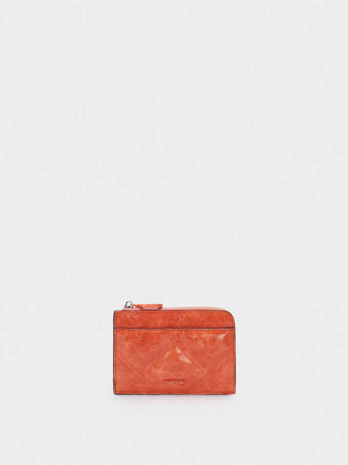Plain Card Holder Purse, Orange, hi-res