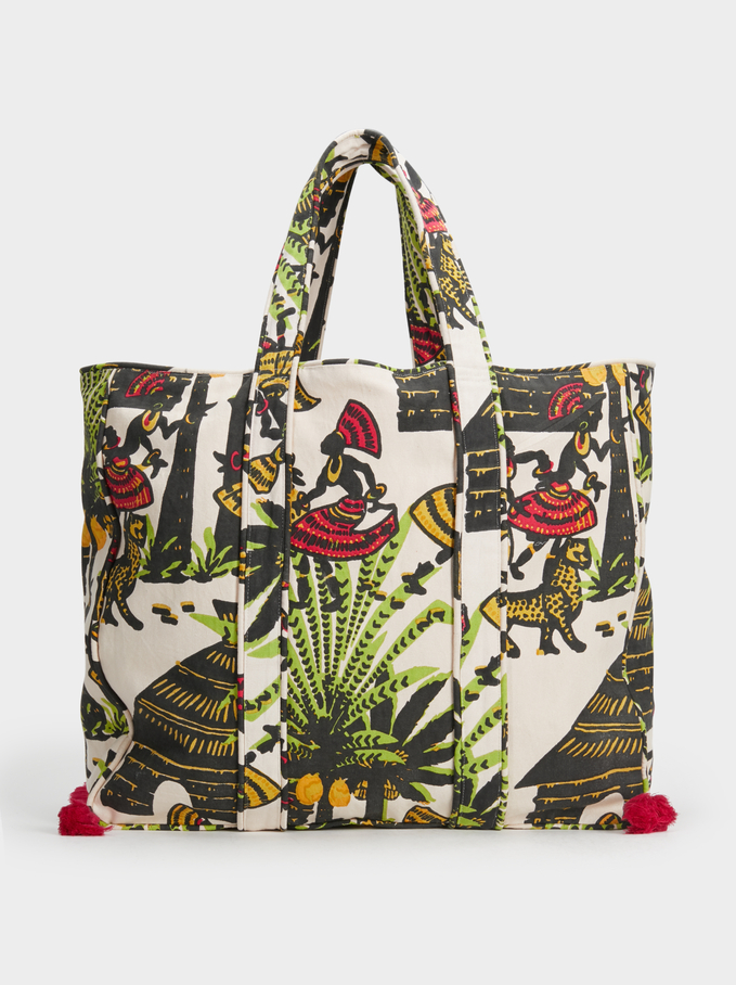 Embroidered Tote Bag, Multicolor, hi-res
