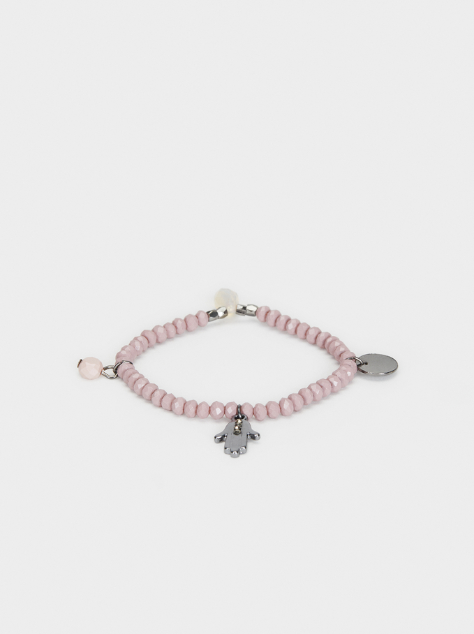 Cosmic Pink Elasticated Bracelet , Pink, hi-res