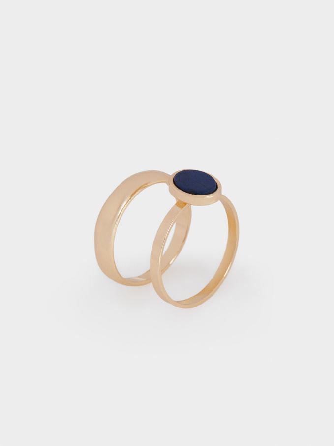 Set Of Stone Rings, Blue, hi-res