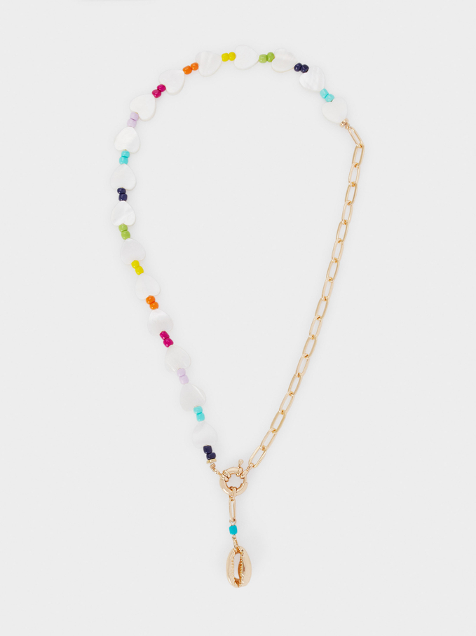 Short Combined Necklace With Shell, Multicolor, hi-res