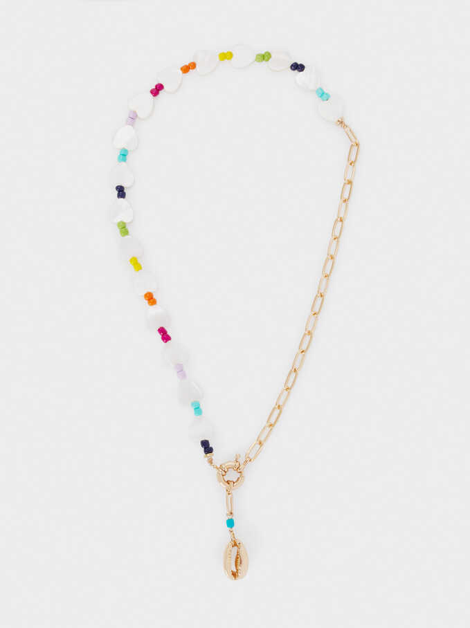 Short Combined Necklace With Shell And Hearts, Multicolor, hi-res
